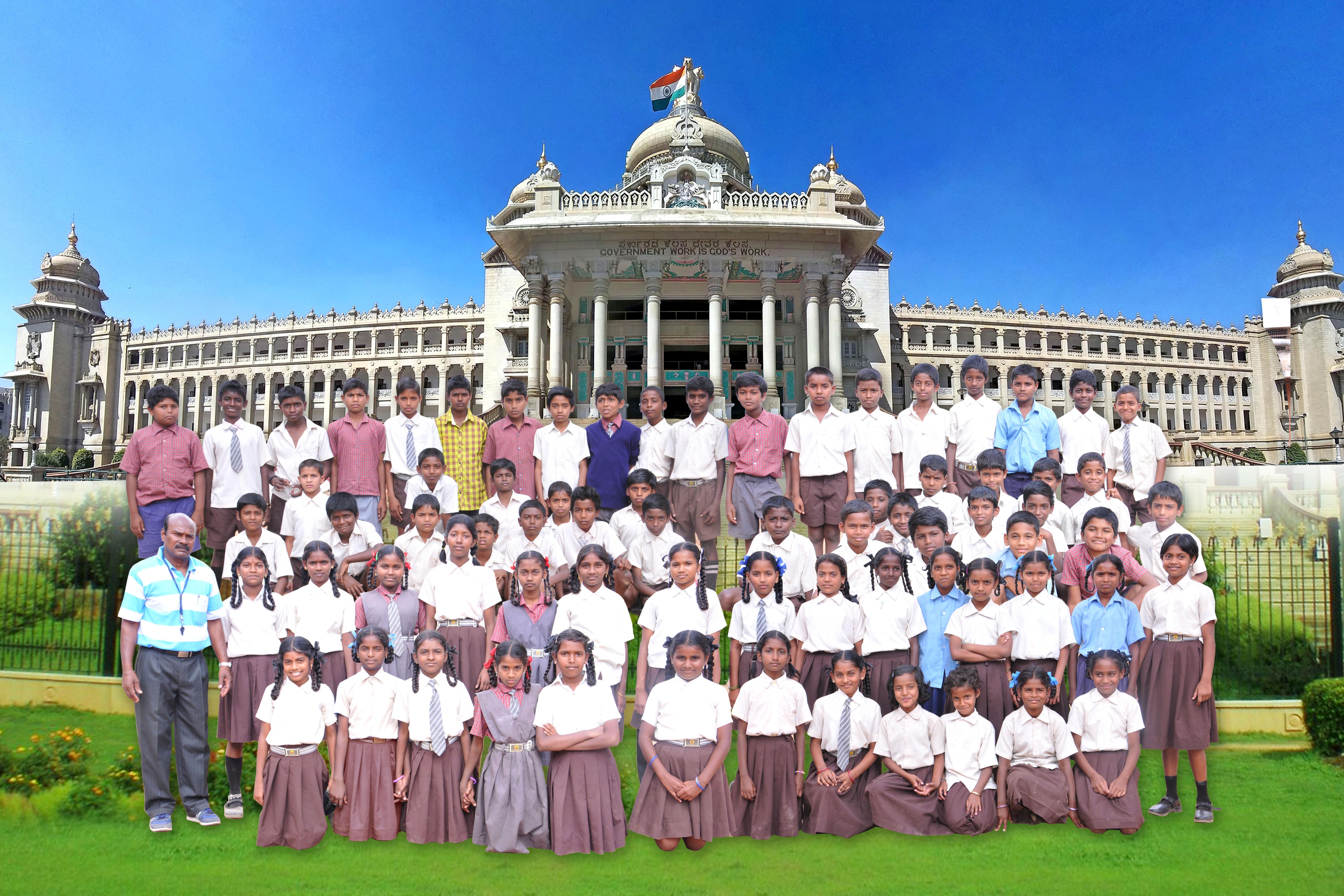Children in Vidhana Soudha Background