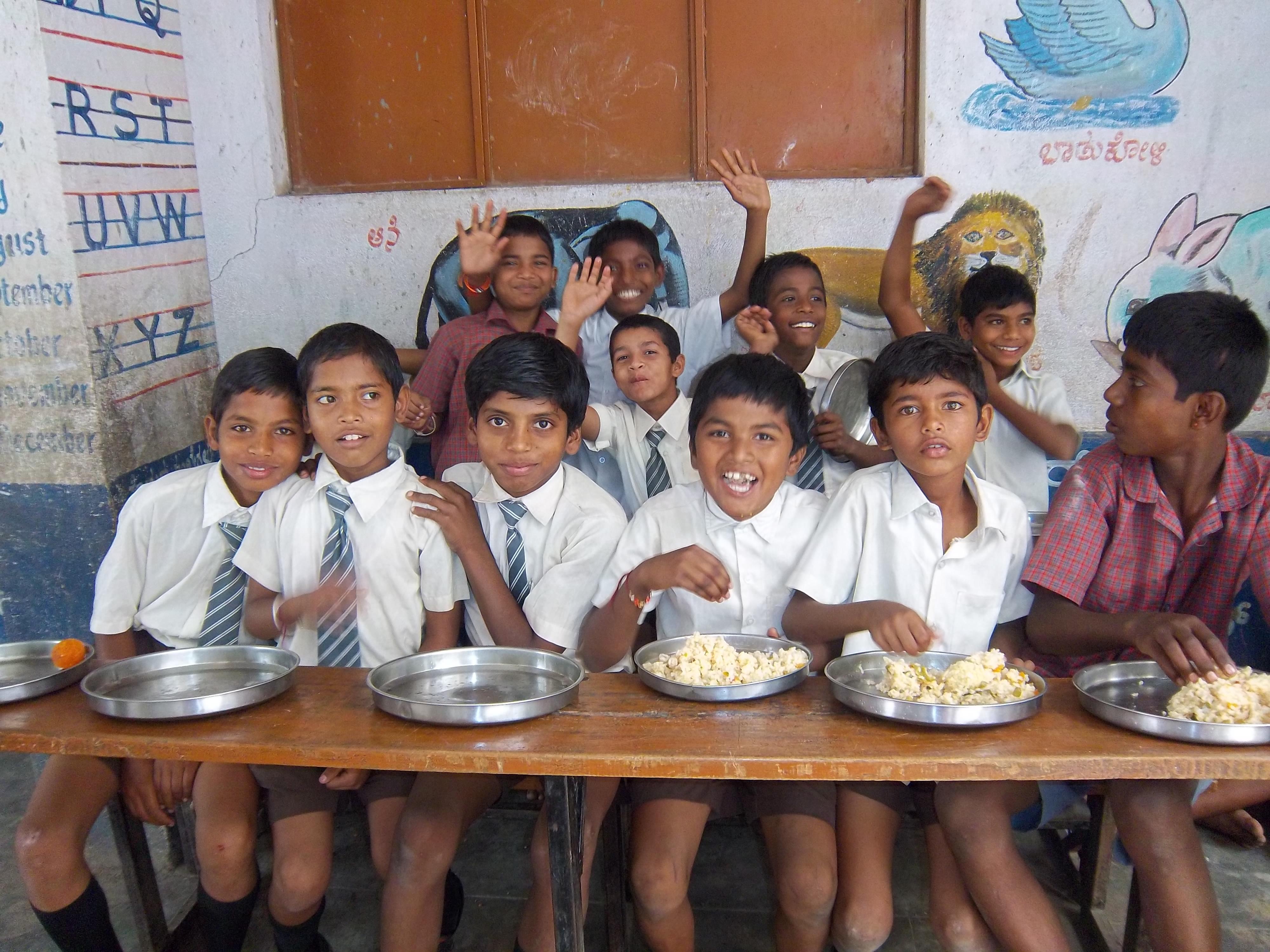 Kids enjoying food